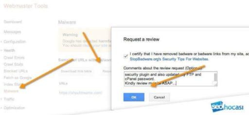search console üzerinden kötü yazılım değerlendirme isteği
