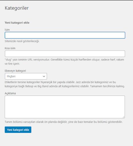 Wordpress kategori alanı