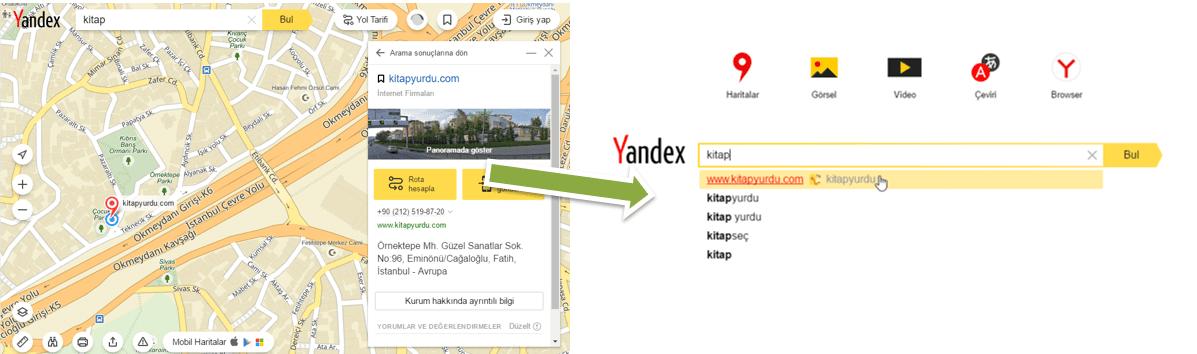 Yandex rehberde kitapyurdu.com